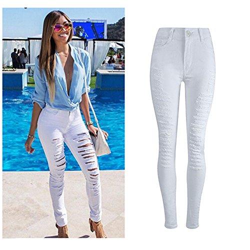 Jeans,WINWINTOM Donne Skinny Jeans Moda Stretch Slim Pantaloni Lunghi (XL, bianco)