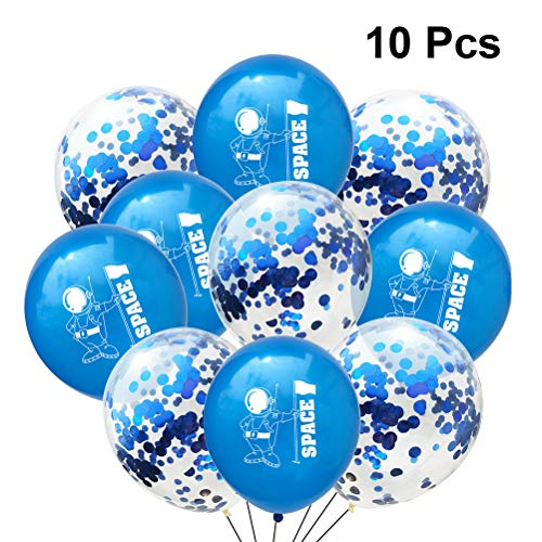 Toyvian Latex Konfetti Luftballons Set Spaceman Druck Ballon Klar Helium Ballon Kid Party Party Supplies Geburtstag Baby Shower Dekorationen (Astronaut Blue Sequins) 10st (Astronaut Party Supplies)