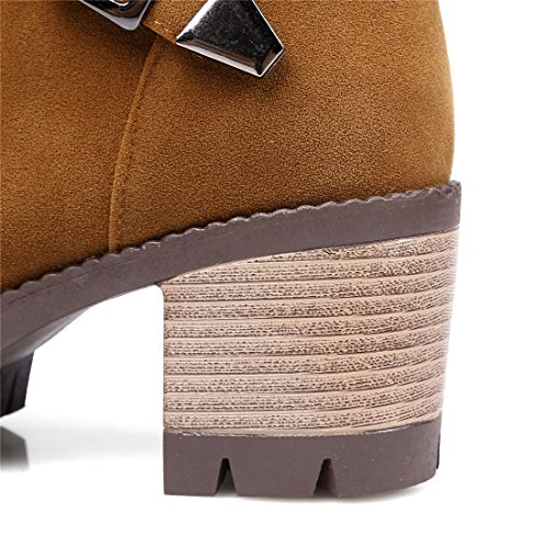 Und High Herbst Schuhe Schnallen Stiefeletten Winter Short Plateau Blockabsatz Ye Heels Boots Ankle Mit Braun xSqpwYYd