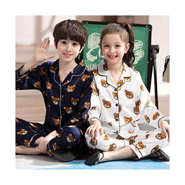 Pijama de Manga Larga para niños y niñas, de Shenye de 0 a 5 años, con diseño de Oso de Dibujos Animados y Pantalones, Pijamas 4