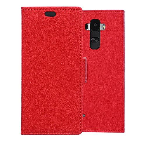 LG G4 Stylus Hülle , Aomo LG G4 Stylus Hülle Leder Brieftasche Cover [Buch-Art] [Karten-Schlitze] [Schlag-Fall] PU Leder Schutz Telefon Hülle für LG G4 Stylus (5,7 Zoll)-Rot