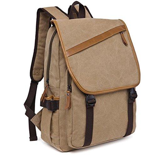 &ZHOU Borsa di tela, Viaggi di piacere retrò di multifunzione tela borsa a tracolla borsa casual borsa a tracolla, borsa di petto, zainetto zaino di computer, coppie , coffee color Khaki