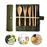 Lesgos Bamboo Utensils Cutlery Set, Portable Utensils Set Camping Utensils Set Reusable Bamboo Fork Spoon Knife Chopsticks Straws Metal Brush for Kids & Adults