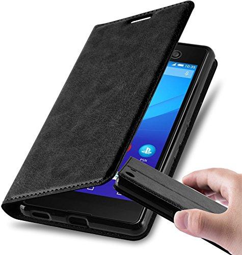 Cadorabo Hülle für Sony Xperia M5 - Hülle in Nacht SCHWARZ - Handyhülle mit Magnetverschluss, Standfunktion & Kartenfach - Case Cover Schutzhülle Etui Tasche Book Klapp Style