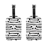 COOSUN Black And White Panda Bear Strip Pattern Luggage Tags Travel Labels Tag Name Card Holder for Baggage Suitcase Bag Backpacks, 2 PCS