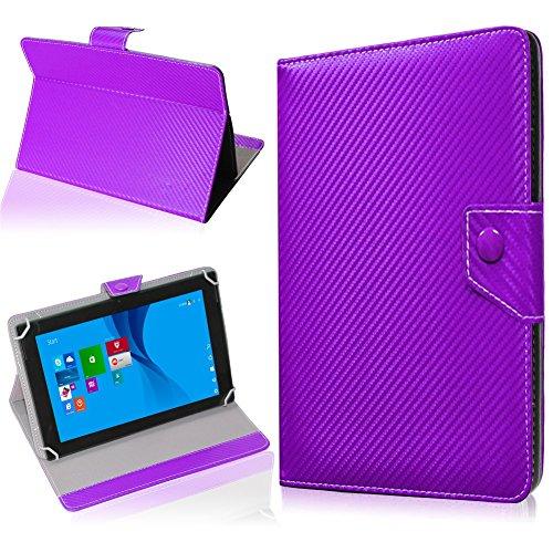 NAUC Tablet Hülle für TrekStor SurfTab Twin 10.1 Tasche Schutzhülle Cover Case Carbon, Farben:Lila