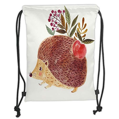 GONIESA Drawstring Sack Backpacks Bags,Animal,Cute Hand Painted Illustration with Adorable Hedgehog with Flowers in Watercolors,Multicolor Soft Satin,5 Liter Capacity,Adjustable String Closure, 20 Hand Painted Muslin