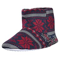 Boys Bootie Slippers Knitted Fair Isle Snowflake Pattern Cosy Fleece Navy 13/1