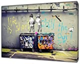 Banksy Life is Short Kinder Art Nachdruck auf Rahmen Leinwand Wand Art Home Dekoration, 40'' x 30'' inch(102x 76 cm)-18mm depth