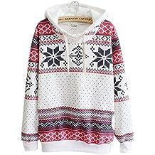 Goodsatar De las mujeres Algodón Navidad Sudadera con capucha Suéter de puente Sudadera con capucha
