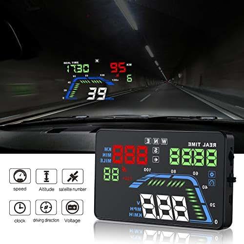 RGBS LCD Digital HUD Display GPS Head High Visualization HUD Digital GPS Light Sensor Performance Competitive Direction Driving Mileage Altitude Time Travel Speed Alarm OBDII-GPS-C800