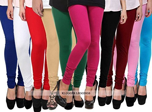 Klugger Cotton Lycra 160 GSM | 4 Way Stretchable | Multicolour Leggings for Women\'s Combo (Pack-10) Free Size