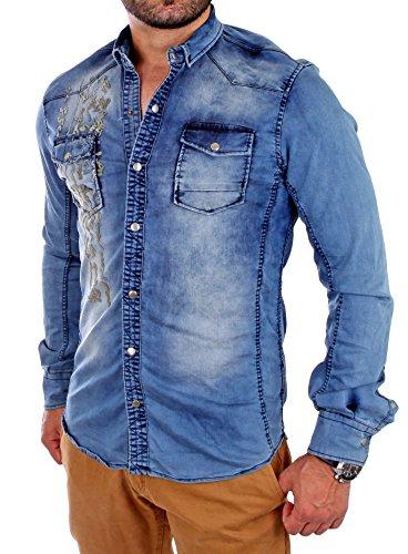 Reslad Jeans-hemd Figurbetont Denim Herren-Hemd viele Modelle & Farben 315 Blau