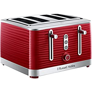Russell Hobbs 24382 Inspire Red High Gloss Plastic Four Slice Toaster