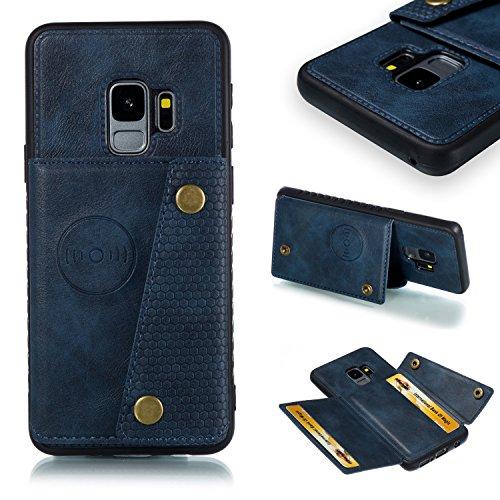 Hülle für Samsung Galaxy S9 ,Samsung Galaxy S9 PU Leder Magnetisch Backcover Handyhülle Phone Halter Bumper Case Weiche [Kartensteckplatz][Bracket-Funktion] 2 in 1 Weich Hülle Tasche - Blau Samsung-web-video-kamera