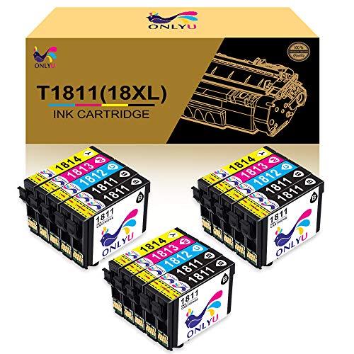 ONLYU Cartucce d'inchiostro compatibili per 18XL(T1811-T1814) per Epson Expression XP-102 XP-202 XP-205 XP-212 XP-215 XP-225 XP-302 XP-312 XP-315 XP-322 XP-325 XP-402 XP-405 XP-412 XP-415(15 pacchi)