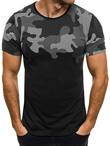OZONEE Herren T-Shirt mit Motiv Kurzarm Rundhals Figurbetont ATHLETIC 1026 Schwarz_BREEZY-707BT