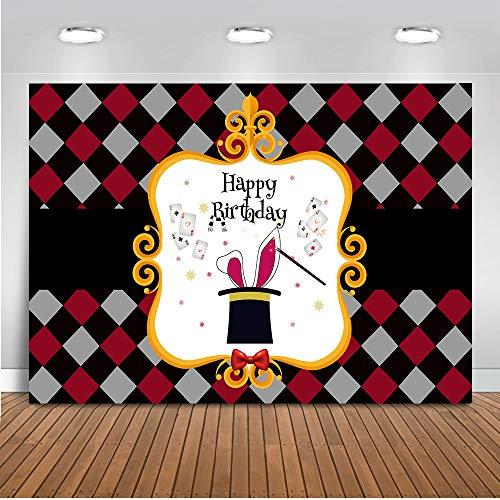 Mehofoto Happy Birthday Foto Hintergrund 7x5ft Magic Poker Thema Ace Hintergrund Banner Geburtstag Party Fotografie Hintergrund für Kinder und Kinder