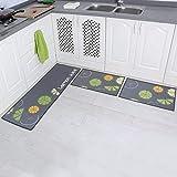 Carvapet 3 Piece Non-Slip Kitchen Mat Rubber Backing Doormat Runner Rug Set, Lemon