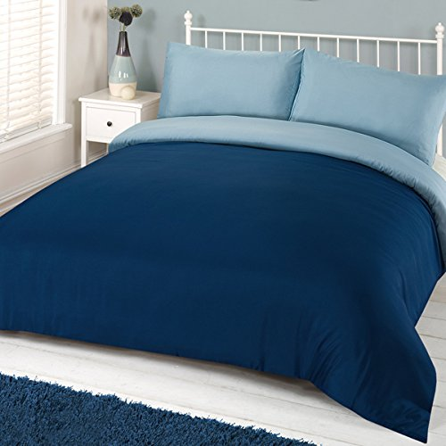 Linens Limited Plain Reversible Duvet Cover Set, Navy Blue/Blue, Double