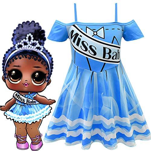 QYS Kleinkind Mädchen Glitter LOL Überraschung Puppe Kostüme Halloween Cosplay Kostümfest Outfit Bowknot Straps 2-3 Jahre,120cm