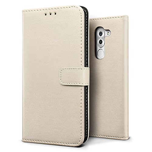 SLEO Huawei Honor 6X/Huawei Honor 6 Plus Hülle, Retro PU Lederhülle Wallet Deckel mit Kartensteckplätze Tasche für Huawei Honor 6X/Huawei Honor 6 Plus - Grau