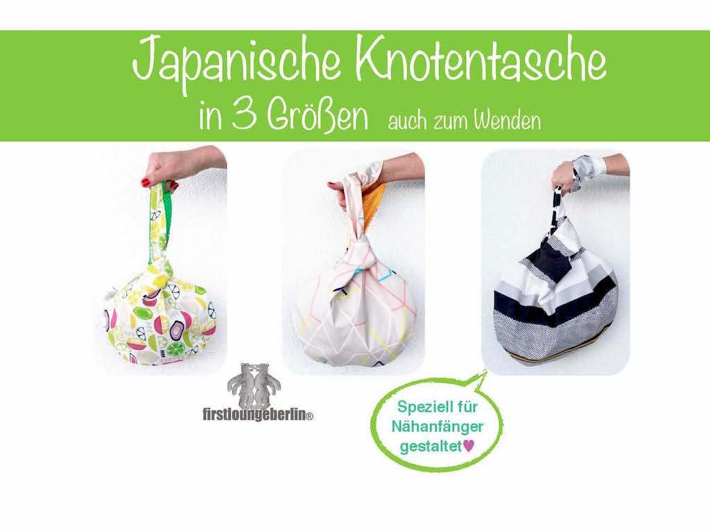 Japanische Knotentasche Beuteltasche Pdf Nähanleitung mit Schnittmuster GR. S-L firstloungeberlin [Download]