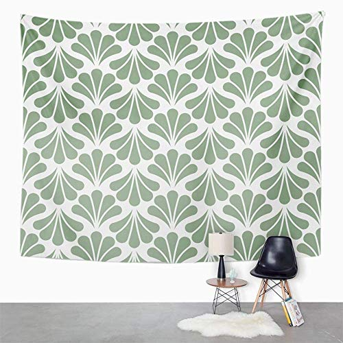 Eriesy Wall Tapestry Green Abstract Floral Nouveau Geometric Leaves Retro Stylish Antique Cut Tapestry Wall Hanging Home Decorations Mysterious for Bedroom Home 150x200cm -
