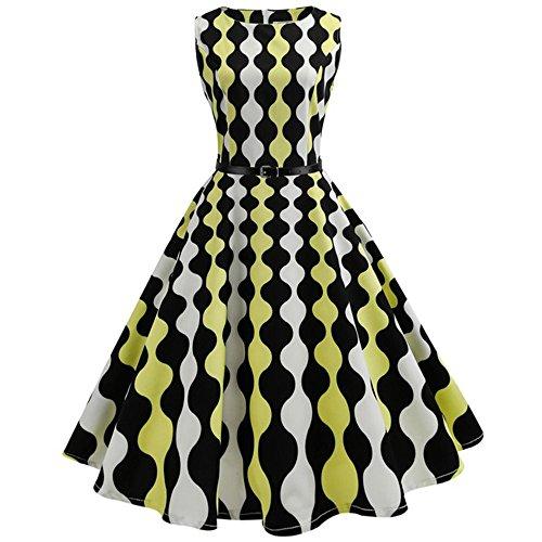 VEMOW Heißer Elegante Damen Mädchen Frauen Vintage Bodycon Sleeveless Beiläufige Abendgesellschaft Tanz Prom Swing Plissee Retro Kleider(X1-Gelb, EU-34/CN-S)