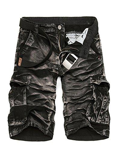 Menscwhear Pocket Hobo Release Pantaloni da Jogging da Uomo sportivi Casual Sarouel danza Shorts in esecuzione with belts (44,nero)