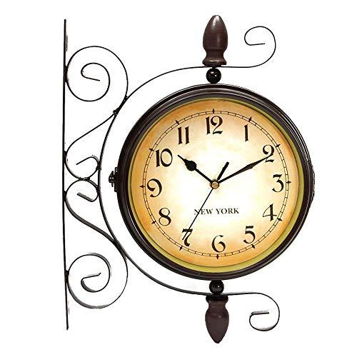 MMJ Uhr-Retro-Stil doppelseitige Wanduhr - Schmiedeeisenbahn Bahnhof Stil Runde Uhr mit Rollenwand Seite hängen - 360 Grad drehbare Dekoration (größe : Dial Diameter: 8inch)