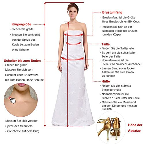 NUOJIA Damen Lang Meerjungfrau Hochzeitskleider Champagner mit Blumen Appliques Tüll Brautkleider Rücken 32 - 5
