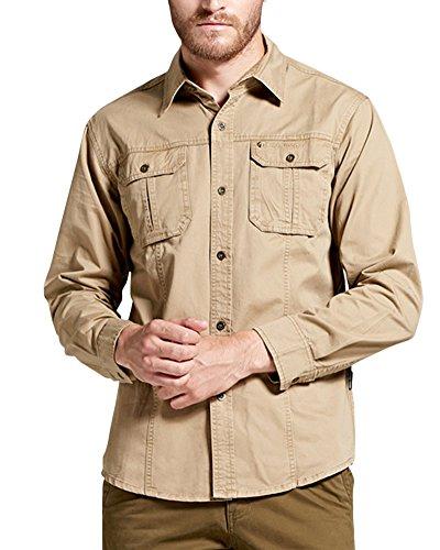 Guiran Homme Blouson Veste Militaire Style Classique Manches Longues Chemises Casual Shirt Kaki L