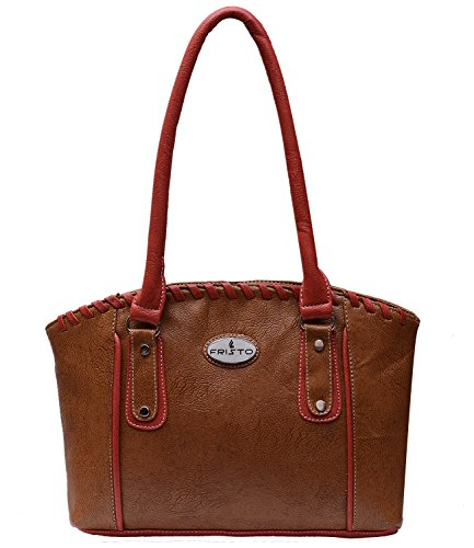 Fristo Women's Handbag(FRB-206)Tan and Orange