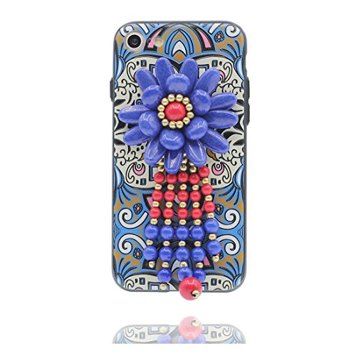 "iPhone 7 Coque Cover, 3D Bead accessoire, TPU Flexible Unique Designed Style national iPhone 7 Étui iPhone 7 Case 4.7"" Poussière Poof & stylet # 4"