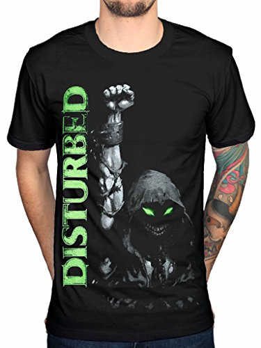 T Shirt Dei Disturbed Alza il Pugno (Nero) - Medium