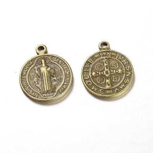 10-x-bronzo-antico-tibetano-21mm-ciondoli-pendente-medaglia-san-benedetto-zx07485-charming-beads