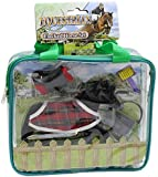 Equestrian Flocked Toy Pony Model Set With Accessories ~ Black Horse