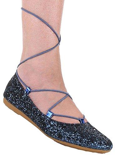 Damen Ballerinas Schuhe Slipper Loafers Halbschuhe schwarz blau silber 36 37 38 39 40 41 Blau