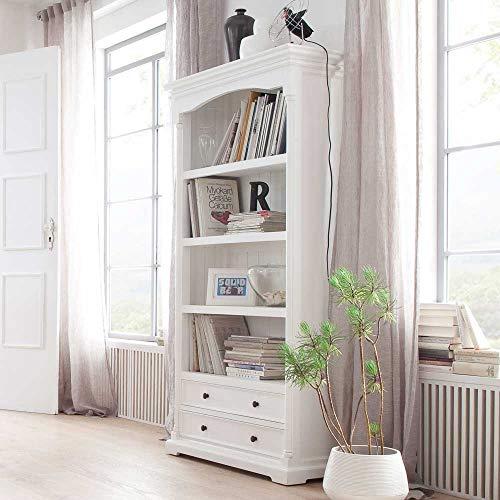 Pharao24 Landhaus Bücherregal in Weiß 100 cm breit