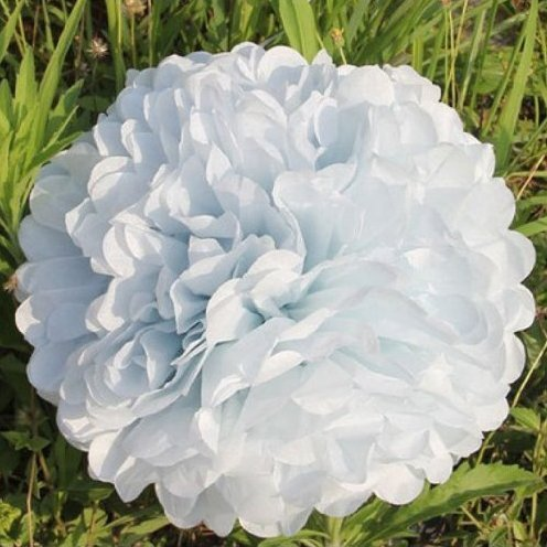 (Lsv-8 10ST Pompons Seidenpapier Pom Pom Blumen Ball für Festival Hochzeit Geburtstag Party im freien Dekoration - Weiß)