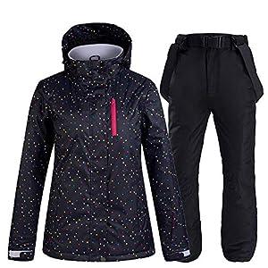 Im Freien Damen Skianzüge 2 Sätze, Wasserdicht Winddicht Warm Schneesicher Skijacke Skihose Black(Black)-S
