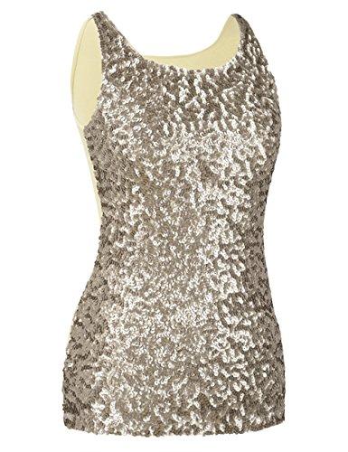 Kayamiya Damen 1920er Jahre Glitter Pailletten Weste Tank Tops 46-48 Champagner (Glitter Cami)