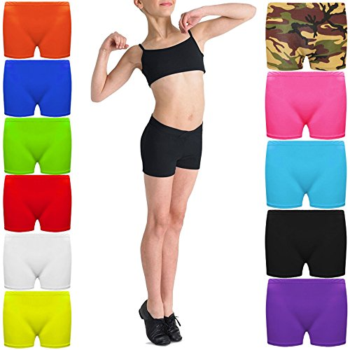 Kids Microfiber HOT Pants Girls Knickers Lycra Dance Shorts Gym NEON Party Dress Costume 5-12 Years of Age