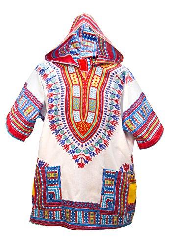 Traditionelle Dashiki (Lofbaz Unisex Dashiki Traditionelles Oberteil mit afrikanischem Druck Design #1 Weiß und Rot M)
