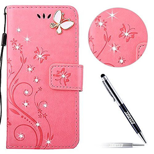 iPhone 8 Custodia in Pelle, iPhone 7 Cover Portafoglio, JAWSEU Goffratura Arts Farfalla Diamante Disegno [Shock-Absorption] Libro Folio PU Leather Wallet Case Cover per iPhone 8 / iPhone 7 Protettiva  Farfalla Diamante, Rosa