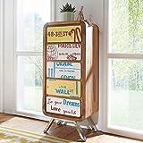 FineBuy Highboard KAIA 48x121x38 cm Landhaus-Stil Sheesham Massivholz/Metall | Design Kommode Schmal Bunt | Schubladenkommode Sideboard Hoch | Anrichte Schlafzimmer Massiv | Standschrank Flur