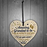 RED OCEAN Grandad To Be Wooden Heart Baby Announcement For Dad New Baby Gifts Plaque Grandparent Keepsake From Bump Gifts