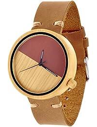 ZLYC Reloj de correa de cuero de marrón, reloj de madera de bambú, reloj de madera de color, reloj de pulsera hecho a mano