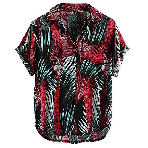 Sommer Herren Lustig Print Hawaiian Shirt Lässige Kurzarm-T-Shirts Outfits Urlaub Kleidung Button Hawaii Aloha Kleidung (Neue Captain America Kostüm Comics)